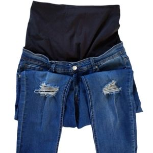 Preggo Distressed Leggings Skinny Jeans Stretch